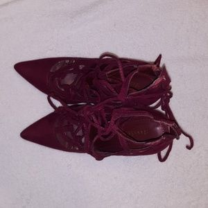 Shoe Dazzle Shoes - Maroon lace up heels